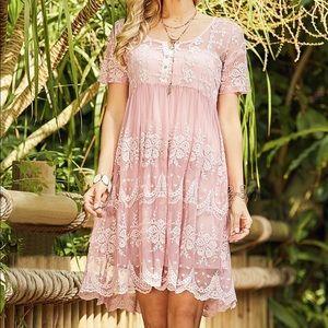 Pink mesh overlay empire waist festival dress 🌺